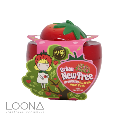БХ New Tree Маска для лица от расшир. пор Urban Dollkiss New Tree Strawberry All-In-One Pore Pack 100гр