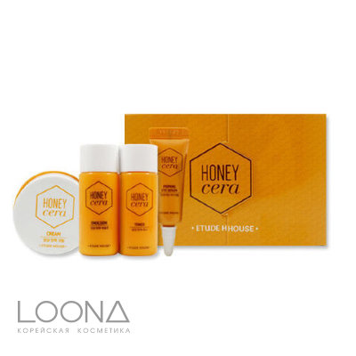 Медовый мини набор Etude House Honey Cera Skin Care Kit (toner15ml, emulsion15ml, serum5ml, cream10ml)