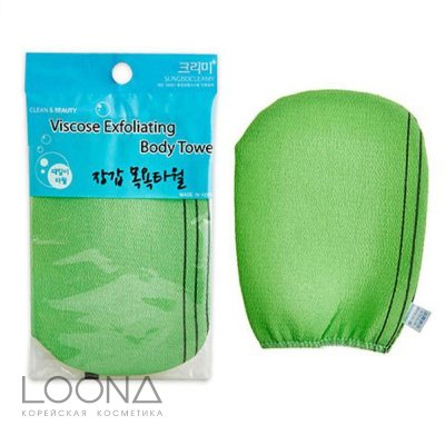 Мочалка-варежка для душа Viscose Exfoliating Body Towel 12см х 17см
