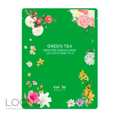Маска для лица тканевая EYENLIP GREEN TEA OIL MOISTURE ESSENCE MASK 25мл